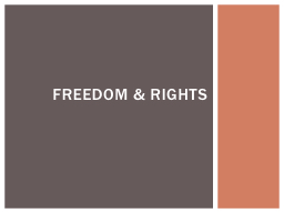 Freedom & rights Learning intention: