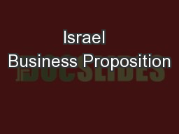 Israel  Business Proposition