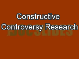 Constructive Controversy Research