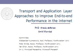 Transport and Application Layer Approaches to Improve End-to-end Performance in the Internet