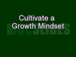 Cultivate a Growth Mindset