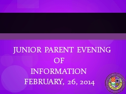 JUNIOR PARENT EVENING