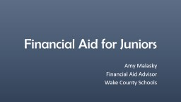 Financial Aid for Juniors