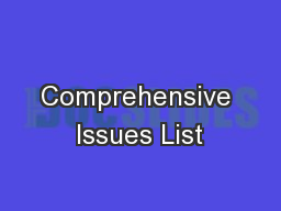 Comprehensive Issues List