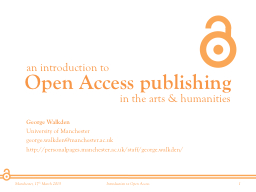 Open Access publishing an introduction to