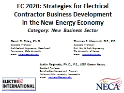 EC 2020: Strategies for Electrical Contractor Business Development in the New Energy Economy