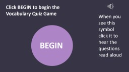 Click BEGIN to begin the Vocabulary Quiz Game PowerPoint PPT Presentation