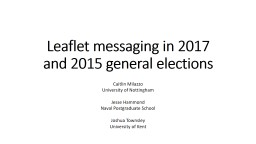 Leaflet messaging in 2017 and 2015 general elections