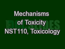 Mechanisms of Toxicity NST110, Toxicology