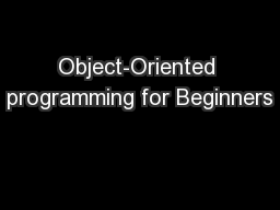Object-Oriented programming for Beginners