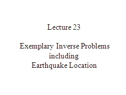Lecture 23  Exemplary Inverse Problems