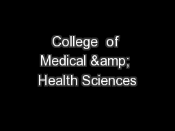 College  of Medical & Health Sciences