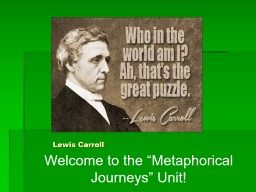 """Lewis Carroll Welcome to the """"Metaphorical Journeys"""" Unit! PowerPoint PPT Presentation"""