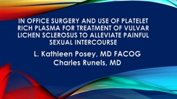 In Office surgery and use of platelet rich plasma for treatment of vulvar lichen sclerosus to allev