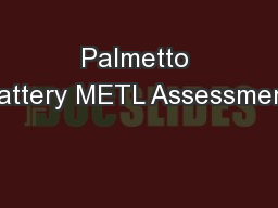 Palmetto Battery METL Assessment
