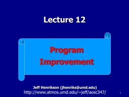 1 Program Improvement Lecture 12