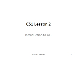 CS1 Lesson 2 Introduction to C