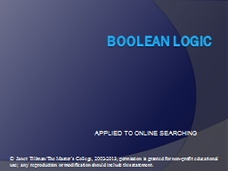 BOOLEAN  LOGIC APPLIED TO ONLINE SEARCHING