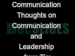 Communication Thoughts on Communication and Leadership from Tim