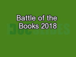 Battle of the Books 2018