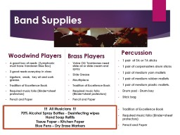Band Supplies  Woodwind Players