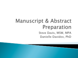 Manuscript & Abstract Preparation