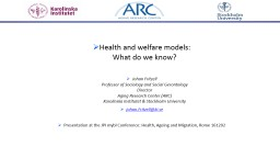 Health  and welfare models: PowerPoint PPT Presentation