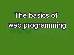The basics of web programming