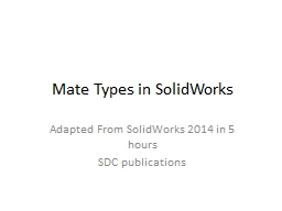 Mate Types in SolidWorks PowerPoint PPT Presentation