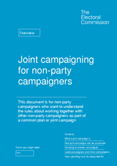Joint campaigning for non party campaigners This docum