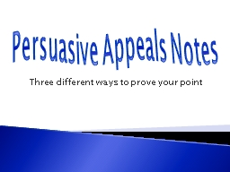 Persuasive Appeals Notes PowerPoint PPT Presentation