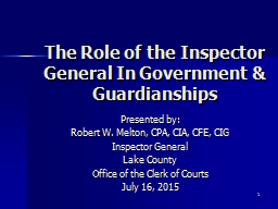 1 The Role of the Inspector General In Government &