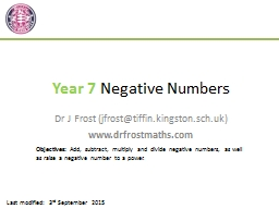 Year 7  Negative Numbers