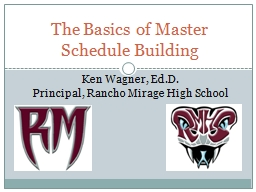 The Basics of Master Schedule Building PowerPoint PPT Presentation