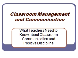 Classroom Management  and Communication PowerPoint PPT Presentation