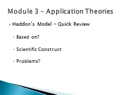 Module 3 – Application Theories