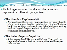 A Mnemonic to Help You Remember the 6 Approaches