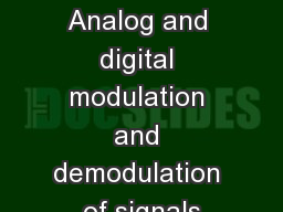 Lecture 1.28  Analog and digital modulation and demodulation of signals