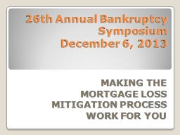 26th Annual Bankruptcy  Symposium