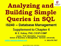Analyzing and Building Simple Queries in SQL PowerPoint PPT Presentation