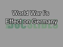 World War I's Effect on Germany