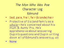 The Man Who Was Poe Character Log
