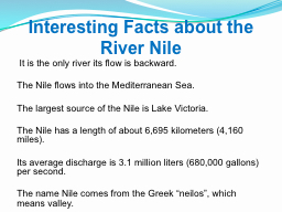 I nteresting  Facts about the River