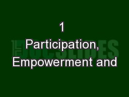 1 Participation, Empowerment and
