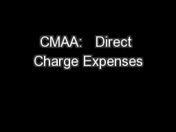CMAA:   Direct Charge Expenses