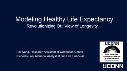 Modeling Healthy Life Expectancy