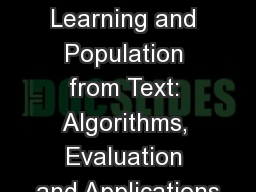 Ontology Learning and Population from Text: Algorithms, Evaluation and Applications