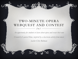 Two-Minute opera  webquest
