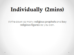 Write down as many  religious prophets
