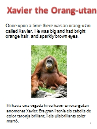 Xavier the  Orang-utan Once upon a time there was an orang-utan called Xavier. He was big and had b